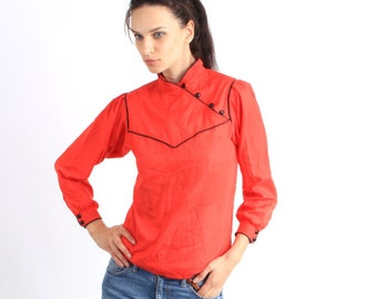 Vintage Red  Long Sleeve Chinese Clasp Blouse Size S