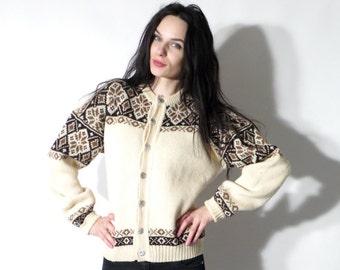 Vintage Cardigan / Norwege Sweater / Knit Sweater / Button Down Cardigan / Folk Sweater / Button Down Cardigan