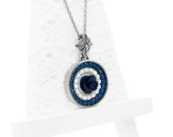 Navy Blue Swarovski Crystal Necklace, Montana Blue Swarovski Crystal Flower Pendant Necklace, Swarovski Pearl Necklace