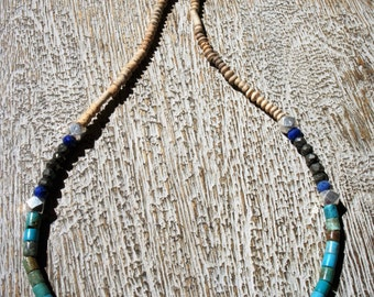 Multi-gemstone necklace: TURQUOISE, PYRITE, Lapis Lazuli, antique CLAY & sterling silver beads. Natural, Organic, Colorado,boho,texture