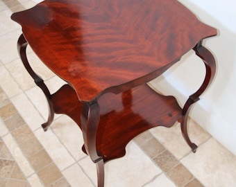 Antique French Rosewood two Tier Side Lamp End Table Original Patina