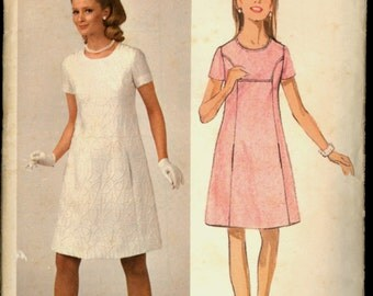1960s Size 12 Bust 32 Jean Muir Princess Seam Dress Butterick 3806 Vintage Sewing Pattern 60s Young Designer London English