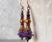 Flower Earrings Dark Purple Dangles Copper Jewelry Beaded Earings Rustic Woodland Garden Jewelry Nature Inspired Gift for Women Under 20