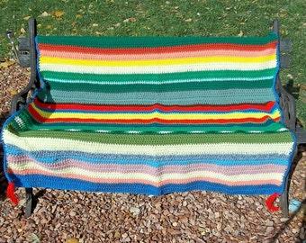 "Crocheted Afghan ""Recycled Rainbow"""
