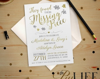 Adoption Invitation | Gold Foil Found their Missing Piece Adoption Party Baby Shower Invitation Printable DIY No. I232