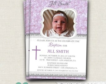 Baby Girl Baptism Invitation - Damask Baptism Invitation - Baptism Invitation Girl