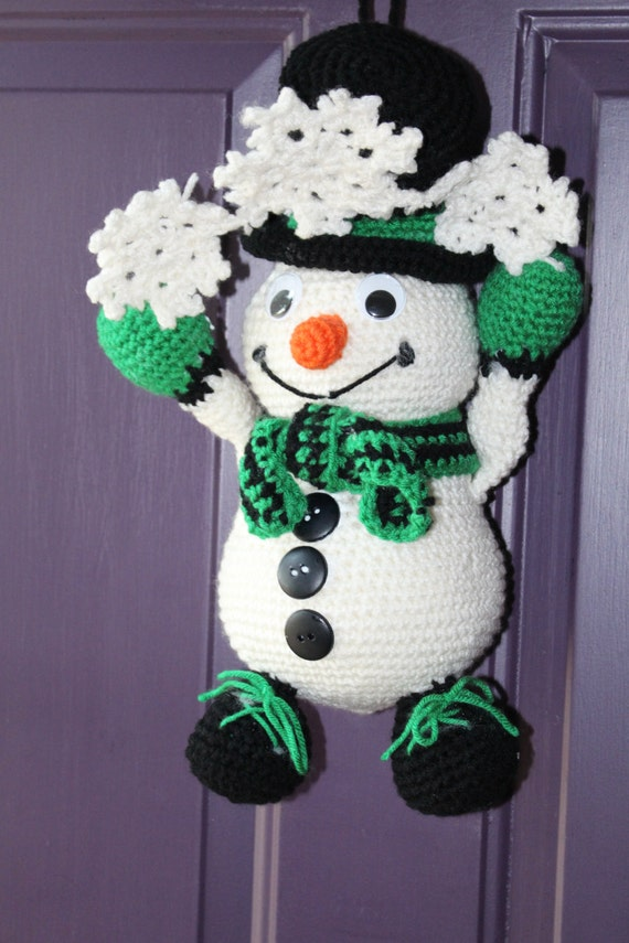 Crochet Snowman Holiday Door Hanger