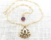 Ankle Bracelet Boho, Lotus Flower Yoga Jewelry, Lotus Anklet, Gold Anklet for Women, Flower Cutout, A0113