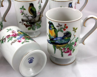 Royal Crown Japan-footed mugs-set of 6-songbirds with gold stripe-tall coffee cups-complete set