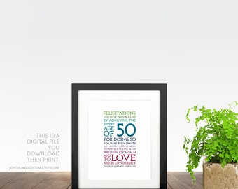 1967. 50th Birthday Gift for Women, Her, Men, Husband, Father PRINTABLE. Christian. Milestone. 50 Years Old. Typography Celebration Word Art