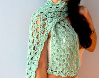 Lace crochet scarf- Chic yellow, green, blue scarf- Fashion lacy crochet scarf- Elegant, boho scarf accessories- Women scarf gift