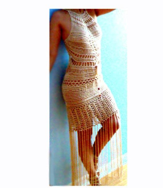 Isis fringe crochet dress- Sexy boho halter dress- Open back formal crochet dress- Fringe beige crochet dress-women dance dress- Party dress