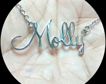 Silver Name Necklace - Pendant - Stainless Steel (316) with Stainless steel Chain.