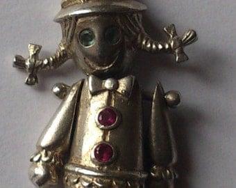 Vintage sterling silver gem set ragdoll charm/pendant