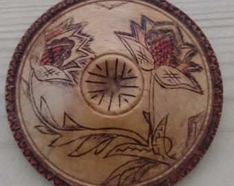 Large vintage wooden brooch