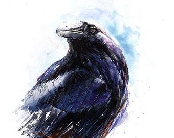 RAVEN ART PRINT - watercolor raven, raven decor, raven lover gift, raven wall art, raven print, watercolor bird art, raven bird painting