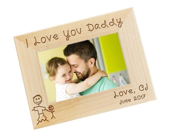 SHIPS FAST, Daddy Picture Frame, Fathers Day Gift, Gifts for Dad, New Dad Gift, Daddy and Son, Engraved Personalized Photo Frame - WF27