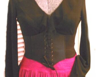 Steampunk Airship Pirate Outfit Corset Vintage Top & Skirt Crochet Choker 4pcs Costume M