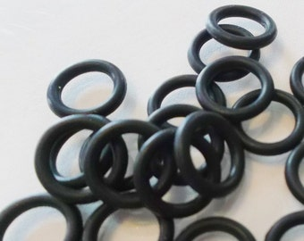 20 QTY. 12mm SILICONE, COLORFAST Black Oh Rings, Licorice Leather Bracelet Findings Rubber ...