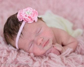 Light Pink Baby Headband, Pink Satin Headband, Pink Flower Headband, Newborn Photo Prop, Baby Shower Gift, Satin Flower, Delicate, Pearls