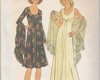 """Simplicity 7225  Misses' Dress in two lengths And Shawl  Bust 34""""  UNCUT"""