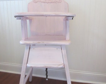 SOLD-High Chair, shabby chic chair, vintage high chair, birthday, baby