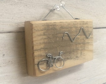 "Small wire bike on reclaimed wood.  3""x 1.5""   Fun, art for any biker!"