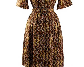 Vintage Japanese 1980s Smock Style Day Dress  Cocoa Brown  Yellow Goldenrod Botonicals Print/ Flirty Sleeves / Bakalite style Belt Buckle
