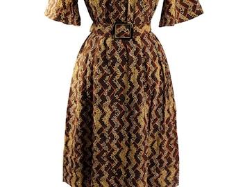 Vintage Japanese 1980s Smock Dress / Cocoa Brown & Yellow Goldenrod Botonicals Print/ Flirty Sleeves / Bakalite style Belt Buckle