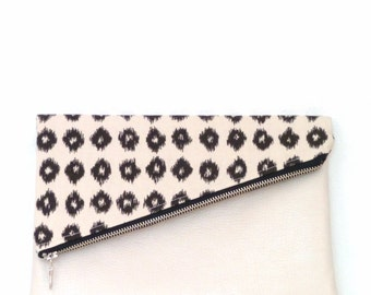 Clutch / Clutch Bag / Clutch Purse / Foldover Clutch Bag / Handbag / Evening Bag / Purse / Leather Clutch Bag/ Black and Natural