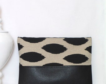 Large Clutch / Oversized Clutch Bag / Fold over Clutch Bag /  Clutch Bag / Clutch Purse  / Handbag / Purse/ Black and Natural