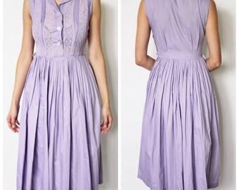 Vintage 1950s Dress   Purple Shirtdress   50s Pale Purple Full Skirt Dress   XS