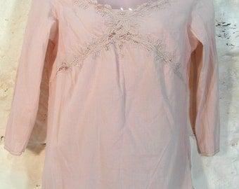 Pink cotton blouse size S / M, pastel pink, 90's fashion, French vintage clothing, retro clothes, boho fashion, hippie top.