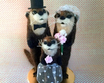 Felted Otter Family / Wedding Cake Topper