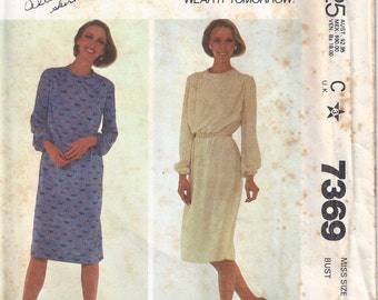 1980 McCalls 7369 Slim Dress Pattern, Size 10