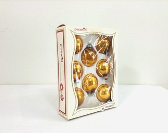 "8 Vintage ""Pyramid"" Gold Glass Christmas Ornaments"