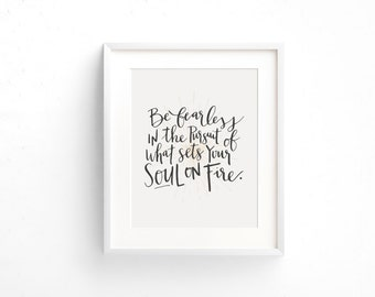 8X10 Be Fearless Handlettered Modern Calligraphy Art Print