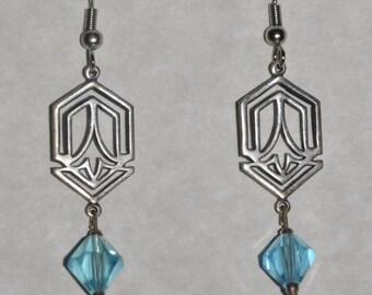 Earrings Silver Filigree Blue Crystal #D7b