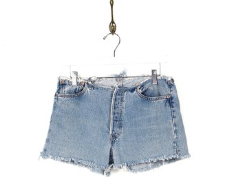90s Levis Cut Offs - 90s Levis Red Tab 501 Button Fly Low Rise  Frayed Denim Shorts - 90s Grunge Frayed Faded Denim Jean Shorts 29W