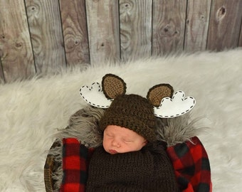 Moose Hat - crochet moose hat - Moose prop - Newborn Prop - Photography Prop - Newborn Moose Prop - Newborn Moose Hat - crochet moose