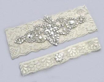 White / Ivory Lace Crystal Garter Set, Rhinestone Keepsake and Toss Garters, Bridal Accessories, Heirloom Garters