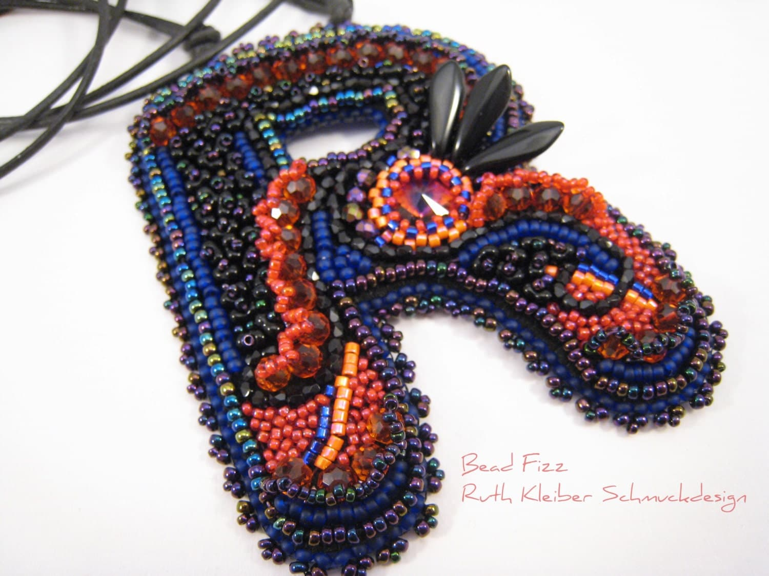 Bead embroidery letter r purple orange with