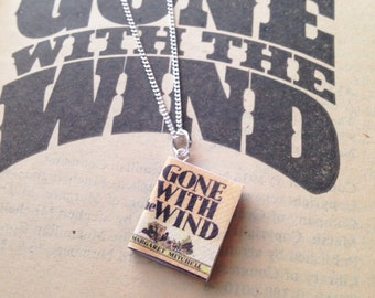Handmade Gone With The Wind Miniature Book Charm Necklace // First Edition Cover // Margaret Mitchell  // Rhett Butler Scarlett O