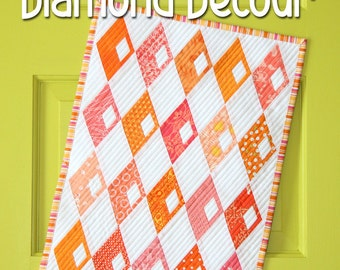 Mini Diamond Detour quilt pattern by Sassafras Lane Designs - mini quilt pattern, modern quilt, scrap quilt, modern mini