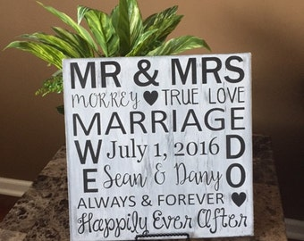 Personalized Wedding Gift, Wedding Sign, Wedding Gift, Marriage Subway Art, Gift for the bride and groom, Couple gift, Bridal Shower gift