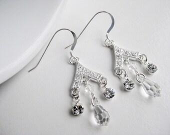 Chandelier earrings, Swarovski crystal, cubic zirconia stones, sterling silver earings, clear crystal, handmade