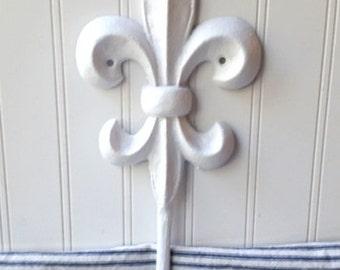 White Fleur de lis hook large cast iron wall hook coat hat hooks  French Farmhouse Cottage Chic