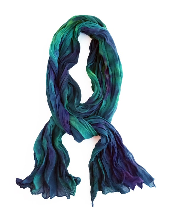 "Blue green chiffon scarf - silk chiffon scarf - crinkle scarf - teal, royal, purple, lime - hand dyed - LARGE - 17""x74"""