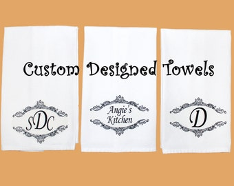 Custom Kitchen Towel Set, Personalized Hand Towel, Choice of Text, Monogram or Initials, Unique All Occasion Gift Custom Bridal Shower Gift