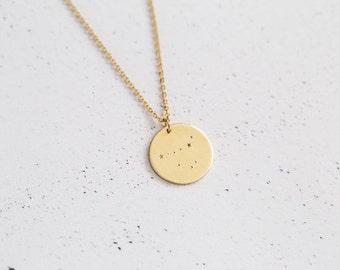 Zodiac Brass Constellation Necklace In Gold | MIDI